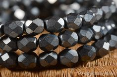 $2.00 FOR 30 (6mm) ~~ Charcoal Mamas  Czech Glass  Faceted ~~ SilverLiningBeads