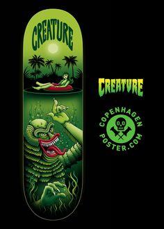 Skateboard Design, Skateboard Decks, Creature Decks, Creature Skateboards, Skate Art, Skate Decks, Black Lagoon, Deck Design, New Hobbies