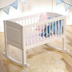 White Wooden Rocking Crib and Bench. Use MFM21 at the checkout for 10% off!