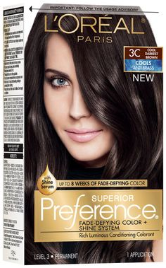 Browse unbiased reviews and compare prices for L'Oréal® Paris Superior Preference® Cools Anti-Brass 3C Cool Darkest Brown Hair Color 1 Kit Box. I had to dye / strip my hair from a mishap I had. So after the 3rd round of bleaching in one day.. I was scared to go this dark and dye AGAIN! My hair is so smooth and barely broken as much as I thought. It's smoothing but the smell while applying may be much for some. Be prepared for that! Other than the smell, the products and results a...