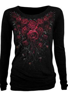 Spiral Rose Skull - Lace One Shoulder Top Black