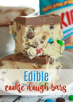 On the lookout for desserts? Easy & no bake are my favorite! We made this cookie dough recipe (edible dessert bars) and they FLEW off the countertop. No bake dessert bars recipes are awesome as they're easy and travel well, too. #dessert #easy #cookiedough #recipe