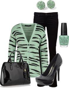 Mint Green Zebra Cardigan With Black Accessories