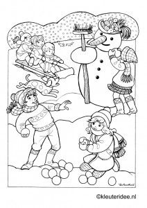 Kleurplaat spelen in de winter , kleuteridee.nl , playing in the winter preschool coloring.