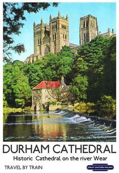 Durham Cathedral VINTAGE Retro Style RAILWAY ADVERTISING POSTER ART Print | eBay