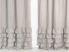 Check out our curtains & window treatments selection for the very best in unique or custom, handmade pieces from our shops. Ruffle Shower Curtains, Linen Curtains, Bathroom Shower Curtains, Window Curtains, Linen Fabric, Bright Curtains, Curtain Headings, Types Of Curtains, Farmhouse Master Bedroom