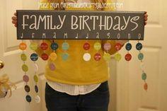 Family birthday calander