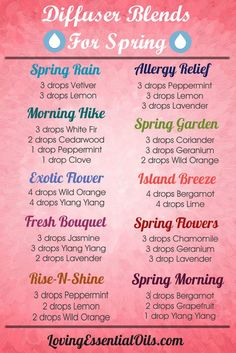 Essential Oils Diffuser Blends for Spring. Allergy Relief, Spring Rain, Exotic Flower, Island Breeze and more. Click here to find out the benefits of diffusing essential oil: http://www.lovingessentialoils.com/blogs/essential-oil-tips/108254726-12-essential-oils-diffuser-benefits