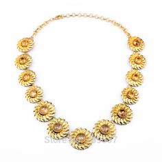 xl00828 Turkish Style Charm Gold Color Gargantilla Sunflower Shimmer Necklace Statement Aolly Jewelry For Sale