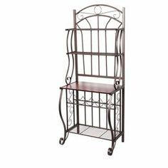 Open steelwork baker's rack with four storage shelves and a five-bottle wine rack.  Product: Baker's rackConstruction Material: Wood and steelColor: Copper Features: Four storage shelves and five-bottle wine rack Dimensions: 68 H x 27.25 W x 16 D