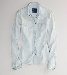 American-Eagle-Denim-Button-Down-Chambray-Shirt-Medium