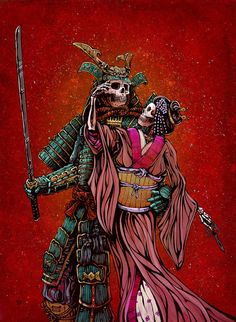 The samurai warrior and his geisha lady love stand united against their enemies. Painting Process The 22 x 30aquaboard was...