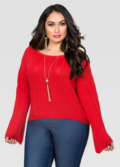 00754c69579 Bell Sleeve Crop Top Sweater. Plus Size ...