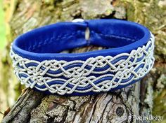 Lapland Sami Bracelet MUNINN Nordic Viking Leather Cuff Bangle in Blue Leather with Pewter Braids - Handmade Natural Elegance.