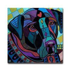 Black Labrador Retriever Lab art Tile Ceramic Coaster Print of painting by Heather Galler