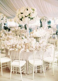 An All White Wedding That's Truly Timeless – Wedding Centerpieces All White Wedding, White Wedding Flowers, Trendy Wedding, Dream Wedding, White Weddings, White Flowers, Bridal Flowers, White Roses, Spring Wedding