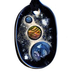 Planets Ceramic Necklace in Black and Gray by surly on Etsy, $18.00