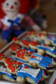 Raggedy Ann and Andy themed party cookies