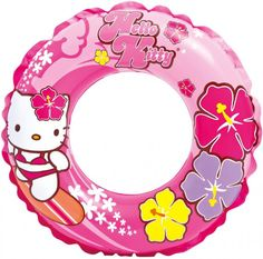 #56210EP Relax and kick back in the pool this summer with this Hello Kitty Swim Ring. - Fun, whimsical Hello Kitty graphics. - Unique dual-layered print for 3-D effect. - No leak valve on ring. - Reco