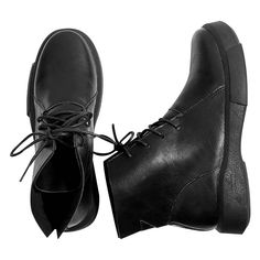 Black 36 PU Leather Lace Up Boots (€19) ❤ liked on Polyvore featuring shoes, boots, ankle booties, gamiss, leather lace up shoes, polyurethane boots, kohl shoes, polyurethane shoes and black shoes