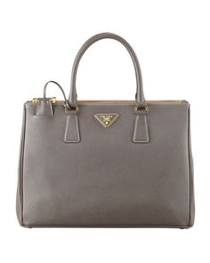 Saffiano+Double-Zip+Executive+Tote+Bag,+Gray+(Argilla)+by+Prada+at+Neiman+Marcus. LOVE THIS ONE TOO!  Gold hardware
