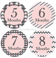 Etiquetas engomadas de la niña mensual hito pegatinas mes
