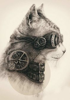 """Steampunk Kitty"" - Gerrel Saunders {feline cool cat animal drawing}"