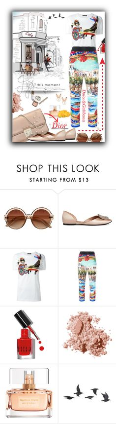 """""""Dolce &Gabbana meets Dior"""" by thedistinctiveme ❤ liked on Polyvore featuring Christian Dior, Roger Vivier, Dolce&Gabbana, Bobbi Brown Cosmetics, Givenchy, Jayson Home, Aamaya by priyanka, Summer, dolceandgabbana and cafe"""