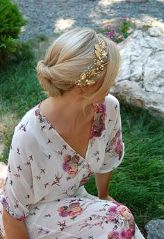 pearl wedding tiara bridal halo gold leaf tiara by SerbinaBridal