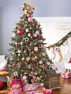 Tree - Father Time - any theme can be used to decorate your tree. Got girls? Decorate with dolls. Got boys? Cars and trucks and tiny wooden toys is a great idea. Add a colored ribbon and hang them on the tree. How fun!
