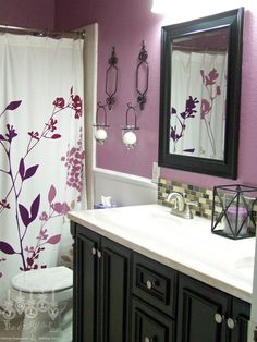 Our purple guest bathroom vanity back splash and mirrors - Lavender and white bathroom ...
