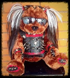 Leather Punk Princess  Spiked n Studded  XL Teddy Bear - Genuine handmade leather outfit by ToxifyDesigns on Etsy