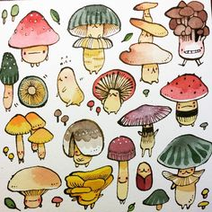 Pretty Art, Cute Art, Bel Art, Art Du Croquis, Art Mignon, Mushroom Art, Mushroom Drawing, Arte Sketchbook, Sketch Art