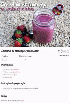 Smoothie de Morango e Jabuticaba - Blog da Mimis - Perca peso com smoothie antioxidante de apenas 45 calorias.