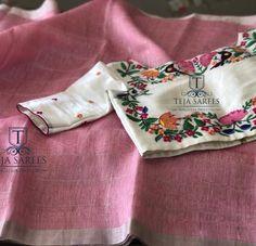 onion pink linen saree with designer blouse from teja sarees Saree Blouse Patterns, Sari Blouse Designs, Lehenga Blouse, Saree Dress, Teja Sarees, Checks Saree, Stylish Blouse Design, Indian Designer Wear, Fashion Outfits