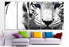 "XLARGE 30""x 70"" 5 Panels Art Canvas Print beautiful Snow Leopard animal Feline Wall Home Decor interior (Included framed 1.5"" depth)"