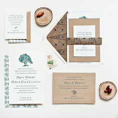 Brides: Rustic Brown and White Invitation Suite with Tree Motif. Fall is underway, and with cooler temps comes a new batch of wedding inspiration for this season's I do's. Spring and summer weddings might be favored for their bright color palettes, plethora of in-season blooms, and warm weather, but for those that love autumn, fall nuptials are a welcome change of pace. And one aspect about autumnal weddings we particularly love is the stationery.Although most invitation suites can work…