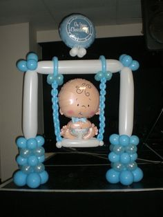 Columpio Hecho Con Globos Para Decoracion De Baby Shower.  #DecoracionBabyShower