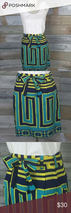 {Beth Bowley} Anthro Greek-Key Tie-Waist Miniskirt These COLORS. So awesome--photos don't do it justice. Navy, Teal, and bright lime colored Greek key pattern featuring semi A-line cut, side pockets (the best part of anything IMO), and a tie waist with double belt loops--enabling  both the sash to stay put OR the fashionista to swap belts for another favorite! I love it with a simple burnout white boyfriend tee and a few long necklaces. Reddish brown booties. Yes ma'am! Beth Bowley for…