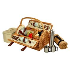 Picnic At Ascot Sussex Wicker Picnic Basket for 2 - Gazebo - 709BC-G