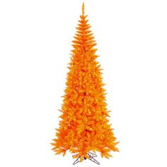 Vickerman 6.5' Orange Fir Slim Artificial Halloween/Christmas Tree with Orange Lights
