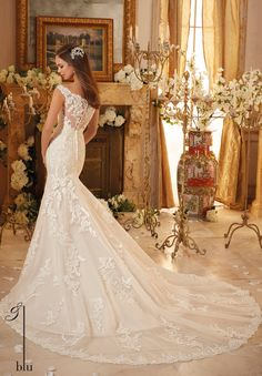 Mori Lee Bridal Wedding Gown 5471 Classic Embroidered Lace on Soft Tulle with Scalloped Hemline