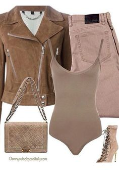 This fall winter outfit idea is so sassy it's so on trend with today's ,I'm loving the suede motorcycle jacket and brown bodysuit mixed with the sexy Balmain ankle boots. The Chanel boy bag is perfect for on the go living.