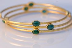 22K Gold Vermeil and Smooth natural Emerald Bracelet -gorgeous