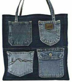 Denim Bags From Jeans, Artisanats Denim, Denim Tote Bags, Denim Purse, Old Jeans, Denim Bag Patterns, Denim Crafts, Jean Crafts, Jean Purses