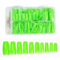 Colored French Nail Tips with Tip Box & Glue (500pcs) - Sharp Green CODE: #441H by Beauties Factory. $14.49. 100% Brand New 10 different sizes nail tips in SHARP GREEN - approximately 50pcs for each size (size 0 - 9). Suitable for nail extension / nail art display with nail art decorations / gel / acrylic / etc Can add nail art decorations on the nails and design your own style and pattern Easy to apply and hold with nail glue For professional studio use or home use