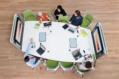 Steelcase / media:scape with HD videoconferencing / Technology / Collaboration Library Furniture, Office Furniture Design, Office Interior Design, Office Interiors, Furniture Ideas, Innovative Office, 21st Century Classroom, Cafe Seating, Office Fit Out