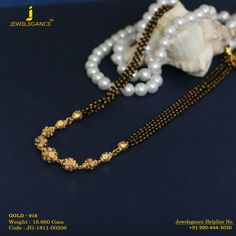 Gold 916 Premium Design Get in touch with us on Gold Mangalsutra Designs, Gold Jewellery Design, Black Gold Chain, Beaded Jewelry, Gold Jewelry, Jewelry Model, Jewelry Collection, Touch, Bangle Box