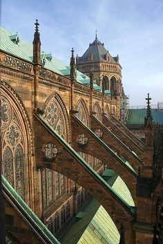 Flying Buttresses of Strasbourg Cathedral as seen about half-way up the spiraly climb to the top of the Strasbourg Cathedral's rooftop viewing platform.