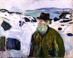 Old Fisherman on Snow-Covered Coast Edvard Munch - 1910-1911